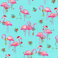 Christmas Cotton Fabric-Santa Flamingos with Glitter
