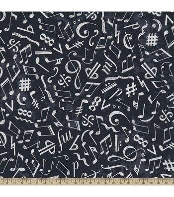 "Anti-Pill Fleece Fabric 59""-Chalkboard Music Notes Navy"