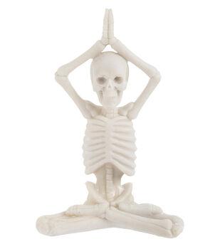 Maker's Halloween Craft Yoga Skeleton in Prayer Hands Over Head Pose