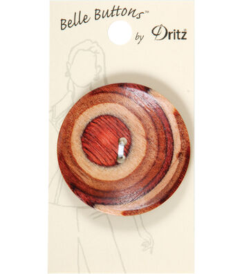 Dritz Belle Button 44mm Wood Large Round Natural