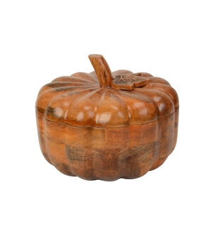 Simply Autumn Small Wood Pumpkin Serving Bowl