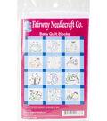 Fairway Needlecraft 12 pk 9\u0027\u0027x9\u0027\u0027 Stamped Baby Quilt Blocks-Frogs