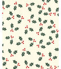Holiday Showcase Christmas Cotton Fabric 43\u0027\u0027-Holly Leaves on Ivory