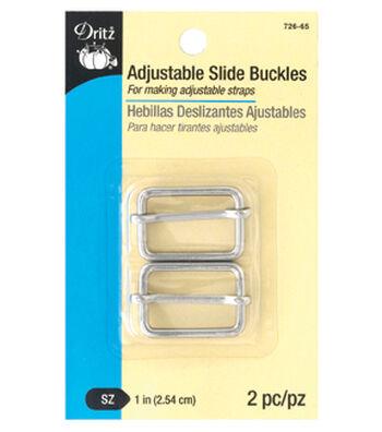 """Dritz 1"""" Adjustable Slide Buckles-Nickel"""