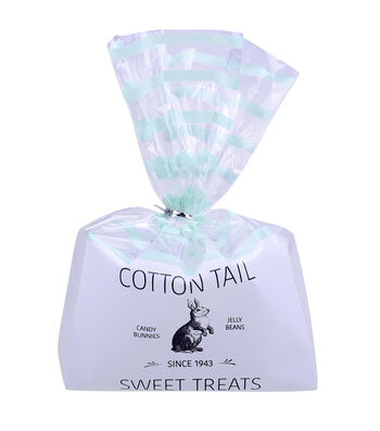 Easter Cellophane Printed Treat Bags with Ties-Stripes & Cottontail