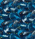 Novelty Cotton Fabric-Smiley Sharks Navy