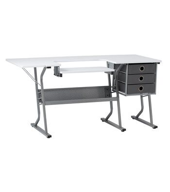 Studio Designs Eclipse Ultra Sewing Table-Steel Gray/White