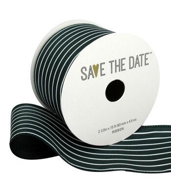 "Save the Date 2.5"" x 15ft Ribbon-Hunter White Stripe"