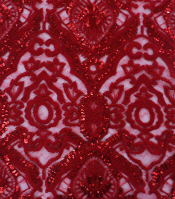 Heavy Tapestry Sequin Fabric 52''-Tango Red