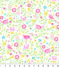 Nursery Flannel Fabric -Pink Elephant All Over Floral