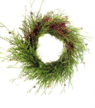 Handmade Holiday Christmas 42'' Giant Pine & Red Berry Wreath