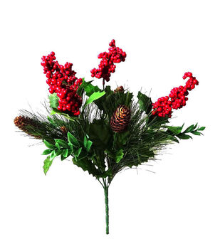 Blooming Holiday 19'' Berry, Long Needle Pine & Pinecone Bush-Red