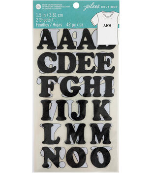 Jolee's Boutique 42 pk 1.5'' Glitter Letters Iron-on Transfers-Black