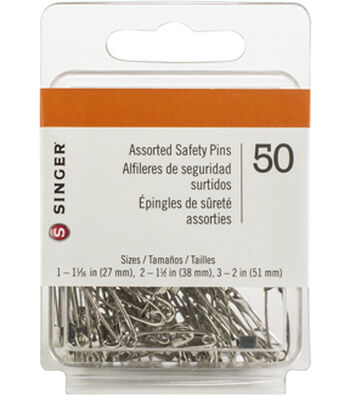 Multi-Pack of 24 Packs of Singer Safety Pins 50 count-Sizes 1 to 3