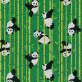 Novelty Cotton Fabric-Pandas And Bamboo