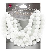 Jewelry Basics Opaque Round Glass Beads 8mm 130/Pkg-White, , hi-res