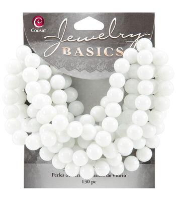 Jewelry Basics Opaque Round Glass Beads 8mm 130/Pkg-White