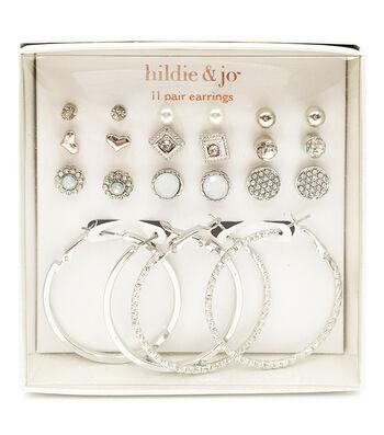 hildie & jo 11-pair Silver Post & Hoop Earrings