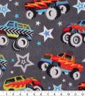 Anti-Pill Plush Fleece Fabric-Monster Trucks on Gray