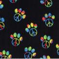 Anti-Pill Plush Fleece Fabric-Peace Paw