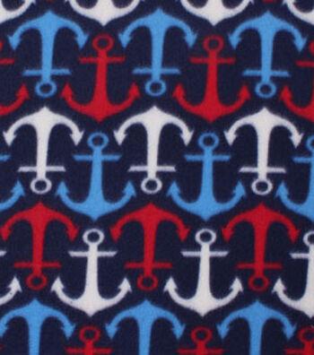 "Blizzard Fleece Fabric 59""-Patriotic Anchors"