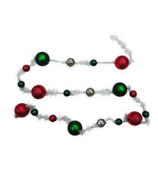 Handmade Holiday Christmas 6' Shatterproof Garland-Red, Green & Silver