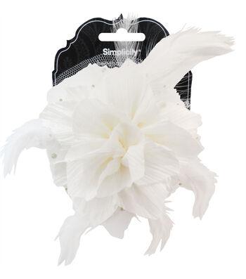 Cream Flower and Feather Headband