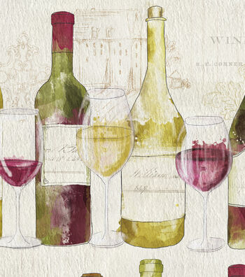"Anti-Pill Fleece Fabric 60""-Wine Tasting"