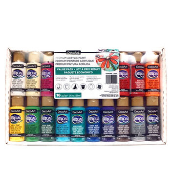 Crafters Acrylics Value Pack 16/Pkg-Assorted Colors