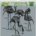 The Crafter\u0027s Workshop Carmen Medlin 12\u0027\u0027x12\u0027\u0027 Stencil-Flamingos