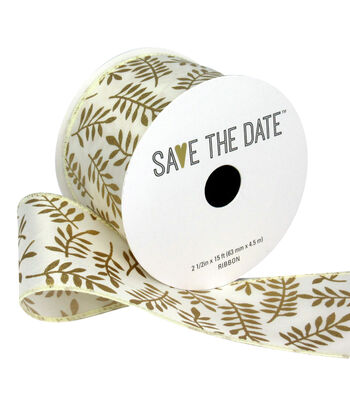 """Save the Date 2.5"""" x 15ft Ribbon-Gold Fern On Ivory"""