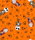 Nightmare Before Christmas Halloween Flannel Fabric 42\u0022-Skulls