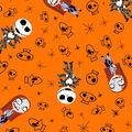 Nightmare Before Christmas Halloween Flannel Fabric-Skulls
