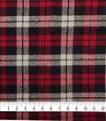 Plaiditudes Brushed Cotton Fabric-Red, Cream & Black Square Plaid