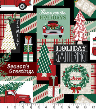 Super Snuggle Flannel Fabric-Holiday Gathering Patchwork