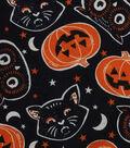 Halloween Cotton Fabric 43\u0022-Black Cat Pumpkins