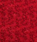 Keepsake Calico Cotton Fabric 43\u0022-Poppy Red Textured Scroll