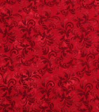Keepsake Calico Cotton Fabric -Poppy Red Textured Scroll