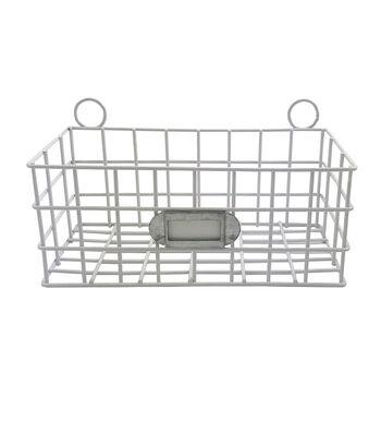 Hampton Home 7'' Metal Basket-White