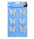 Offray 6ct Rhinestone Studded Butterflies-White