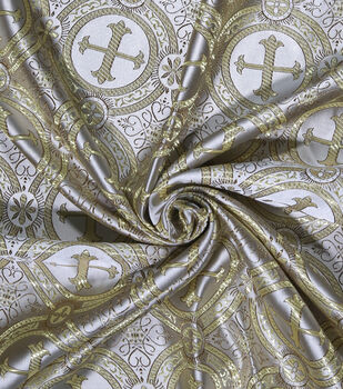 Brocade Fabric -Gold Cross