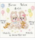 RIOLIS 7.75\u0027\u0027x7.75\u0027\u0027 Counted Cross Stitch Kit-Twins Birth Announcement