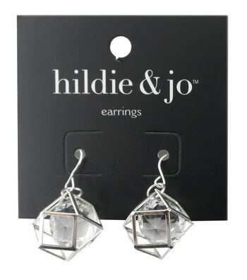 hildie & jo Geometric Silver Earrings-Clear Crystal