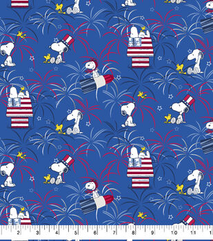 Peanuts Cotton Fabric-Snoopy Fireworks with Metallic