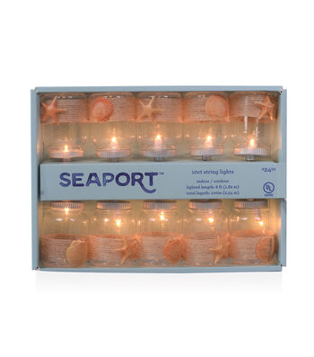 Seaport 10 ct Rope Wrapped Mason Jar String Lights