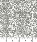 Snuggle Flannel Fabric 42\u0022-Gray Damask On White