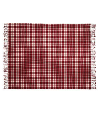 Simply Autumn 50x60'' Plaid Throw-Burgundy
