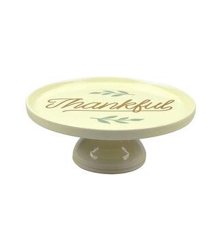 Ceramic Pedestal Plate-Faux Gold Thankful