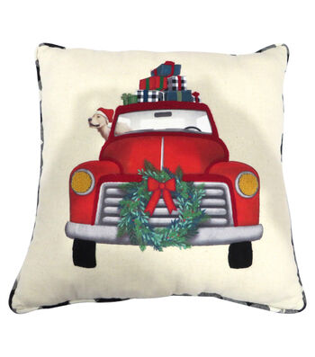 Maker's Holiday Christmas Pillow-Red Truck & Plaid