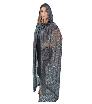 Maker's Halloween Adult Long Skull Lace Cape-Black